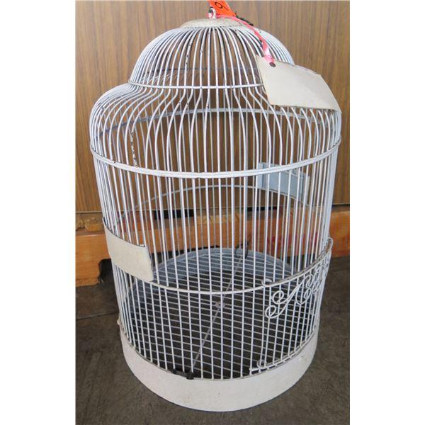 """White Metal Wire Bird Cage 10"""" D x 18""""H  (Retail $179, Sale $99)"""