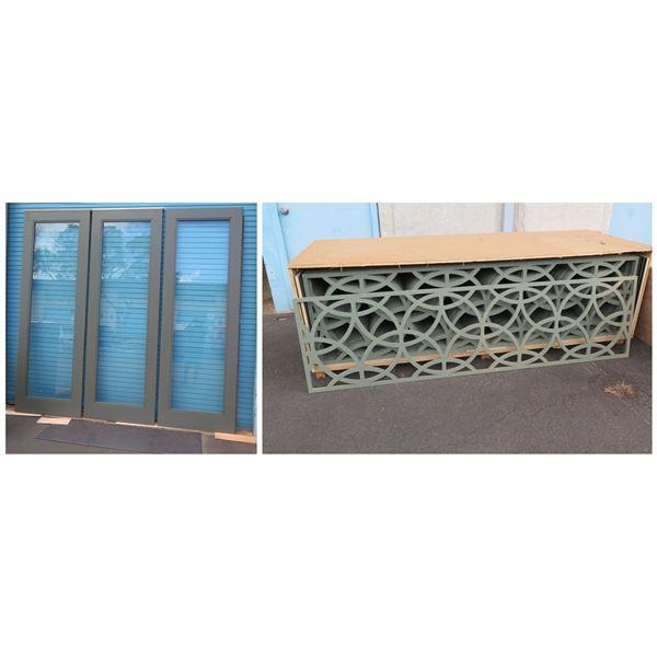 Qty 3 Folding Doors w/ Custom-Carved Inset Panel
