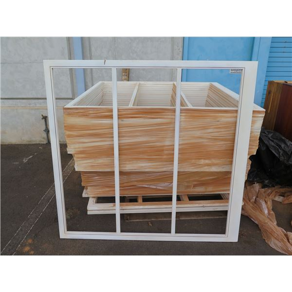 """Approx 40 wood primed screen frames.  Approx 50"""" x 50"""""""