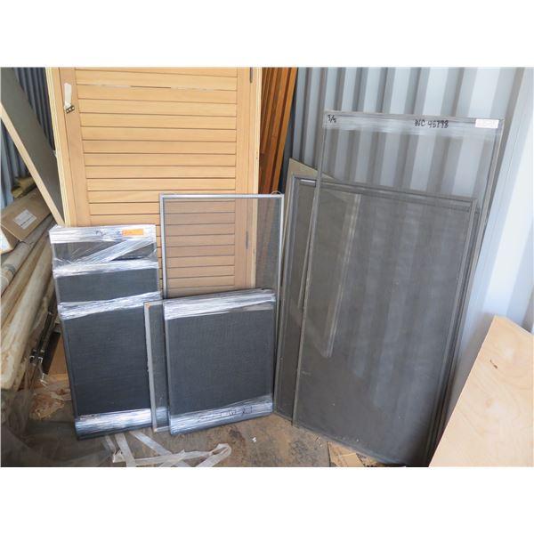 Misc. aluminum box frame screens.  Various sizes.