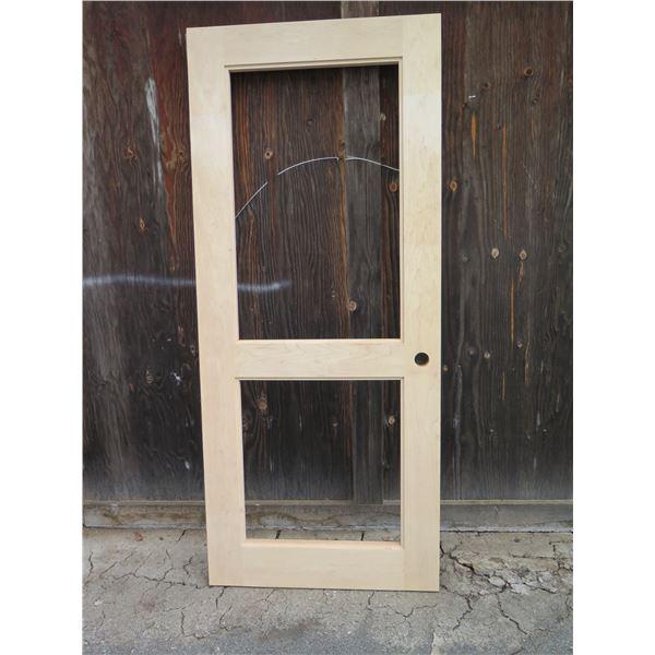 """1 each 2 lite Poplar door.  Approx. 36"""" x 84"""""""