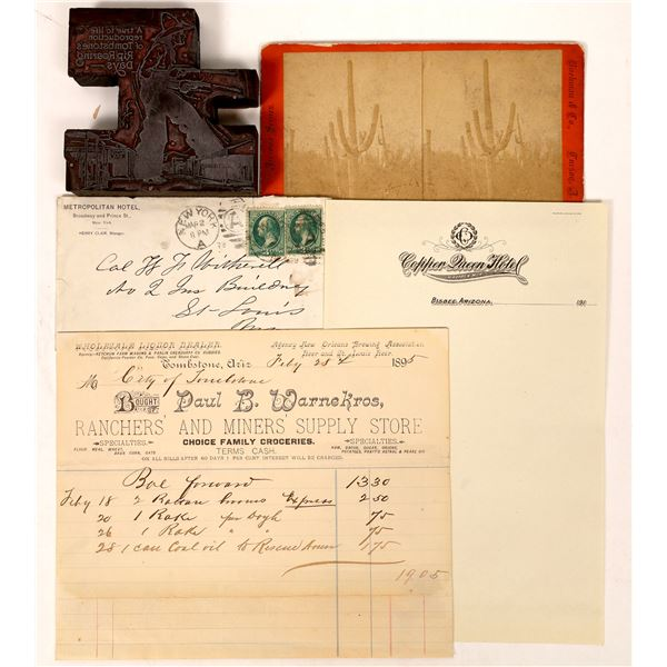 Arizona Ephemera: Billhead, Stereoview, Printer's Block  [134204]