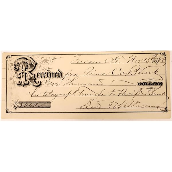 Tucson Check for Telegraph Transfer to a Pacific Bank  [137353]
