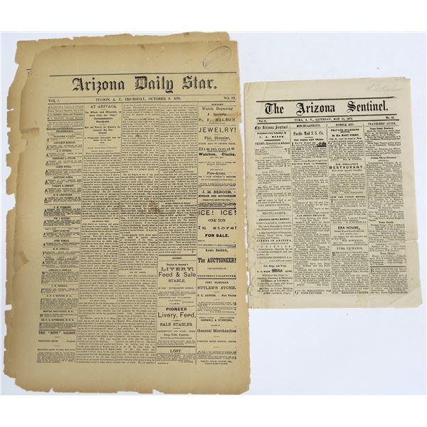 Two (2) Rare Arizona Territory Newspaper Sections  [136022]