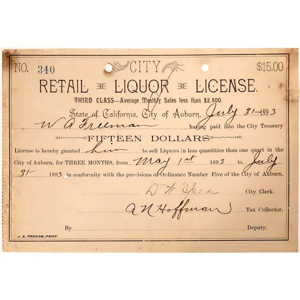 Auburn Liquor License for WA Freeman  [135180]