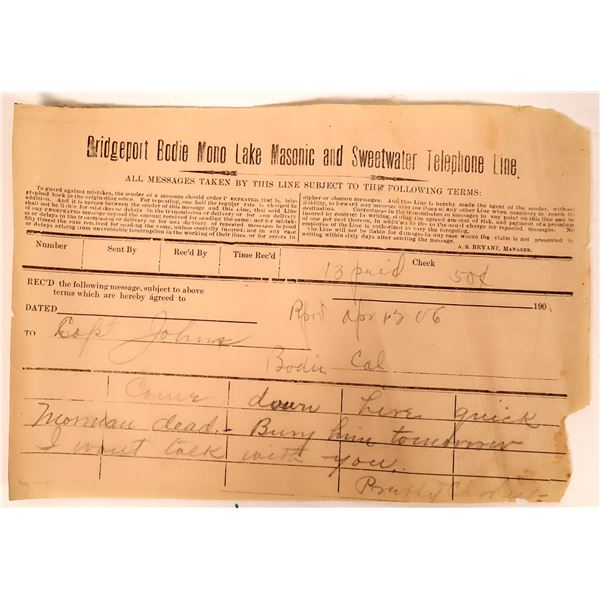 Rare Bridgeport, Bodie, Mono Lake, Masonic & Sweetwater Line Telegram to Bodie  [132928]