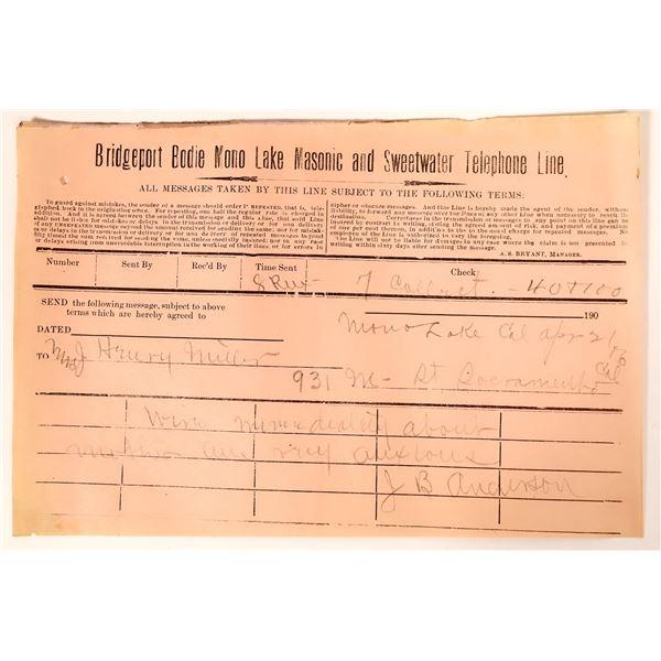 Bridgeport, Bodie, Mono Lake, Masonic & Sweetwater Telegram from Mono Lake  [135249]