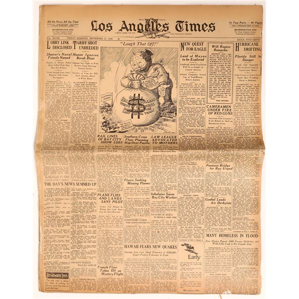Historic Newspaper Archive: Los Angeles Times September 27, 1929  [135898]