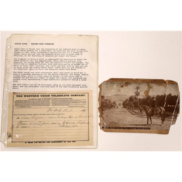 Adolph Sutro Photograph and Autographed Telegram  [133801]