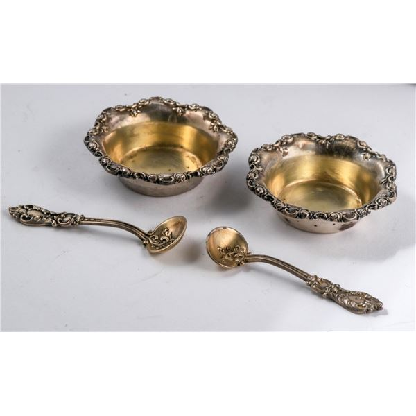 Shreve & Company Sterling Silver Salt Bowls and Spoons  [135955]