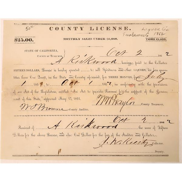 Tuolumne County Liquor License issued to A. Kirkwood  [135705]