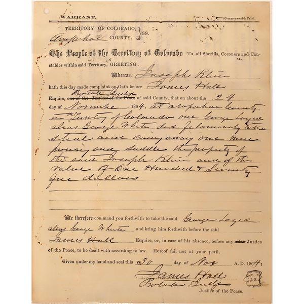 Colorado Territory Arrest Warrant  [134169]