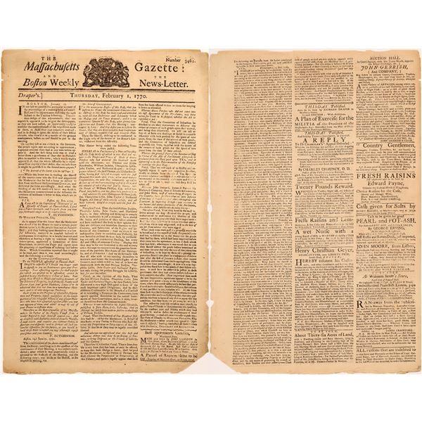 Massachusetts and Boston Weekly Newspaper, Feb. 1, 1770  [136605]