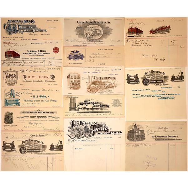 Butte, Montana Billheads – 1892-1907 (14)  [137603]