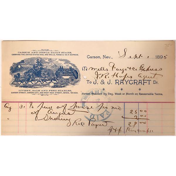 Carson & Genoa Stage, Wells Fargo & Co. Billhead  [132582]