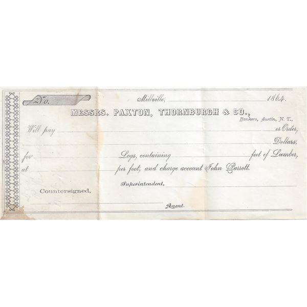 Nevada Territorial Bankers Receipt, Millville, Nevada Territory  [99448]
