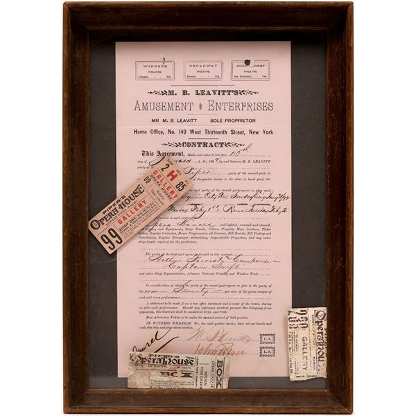 Piper's Opera House of Virginia City Contract with M.B. Leavitt 1892  [133797]
