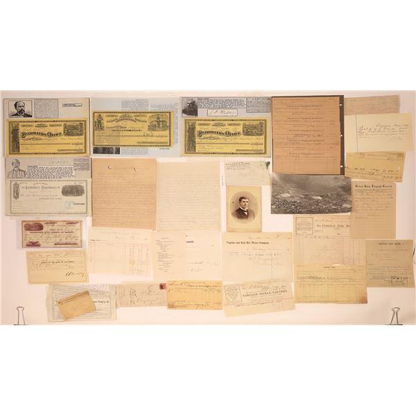 Comstock Ephemera Collection (Virginia City & Gold Hill)  [135627]