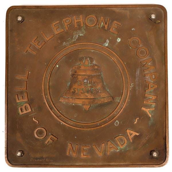 Bell Telephone Company of Nevada Original Bronze Sign  [136661]
