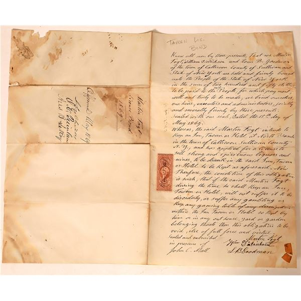 1860s Revenue Stamped Tavern/Saloon License Bond  [135838]