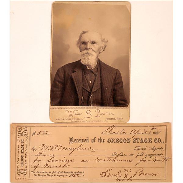 Oregon Cabinet Card & Stage Company Receipt  [134201]