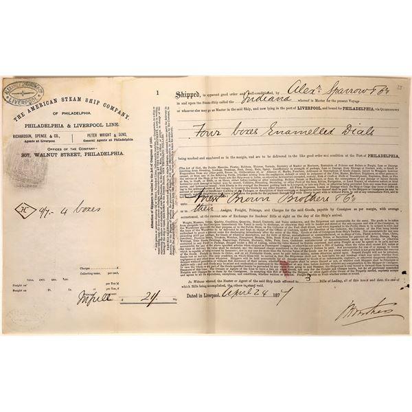 American Steamship Co. Shipping Receipt: Philadelphia & Liverpool Line  [135198]
