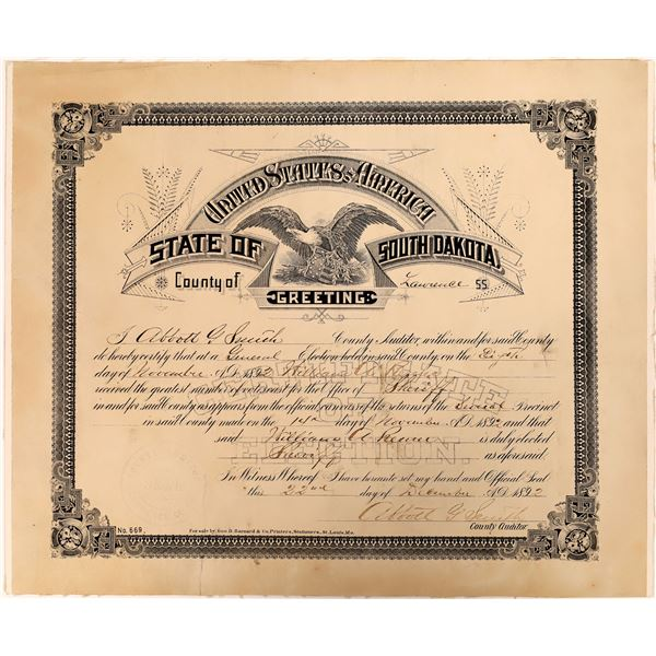 Sheriff Appointment, Lawrence Co., SD 1892  [136602]