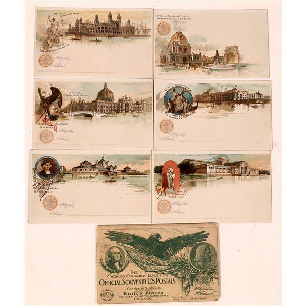Official Souvenir U.S. Postals from Chicago World's Fair - 6 pcs in Original Sleeve  [137688]