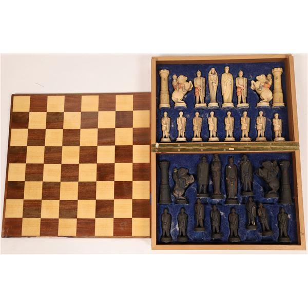 Elaborate Chess Set in Custom Wood Box  [135035]