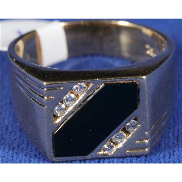 Diamond and Jet Gold Ring  [133846]