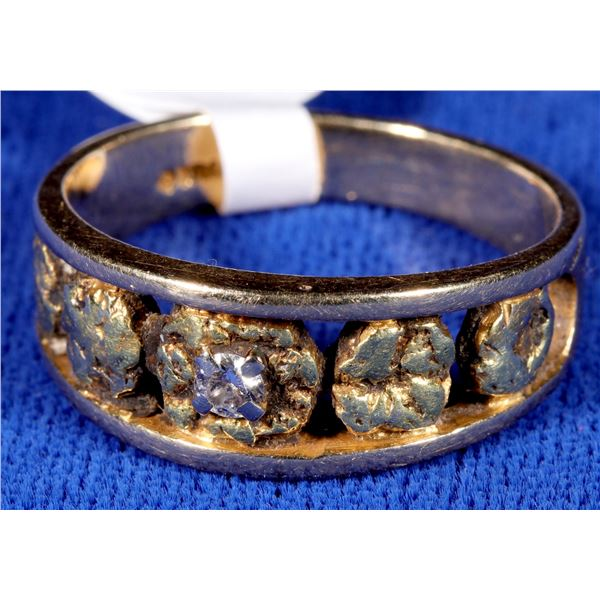 Gold Nugget/Diamond Man's ring  [133844]