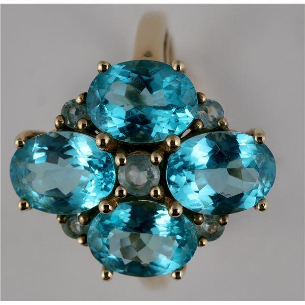Aqua Blue Flower Ring  [137760]