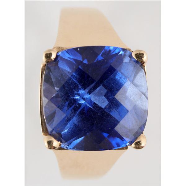 Blue Checkerboard Cushion Cut Ring  [137759]