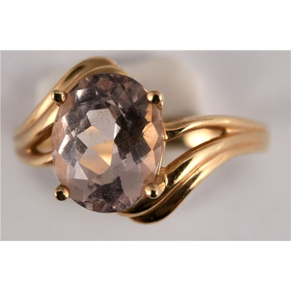 Oval Ice Pink Topaz Gold Ring  [137765]