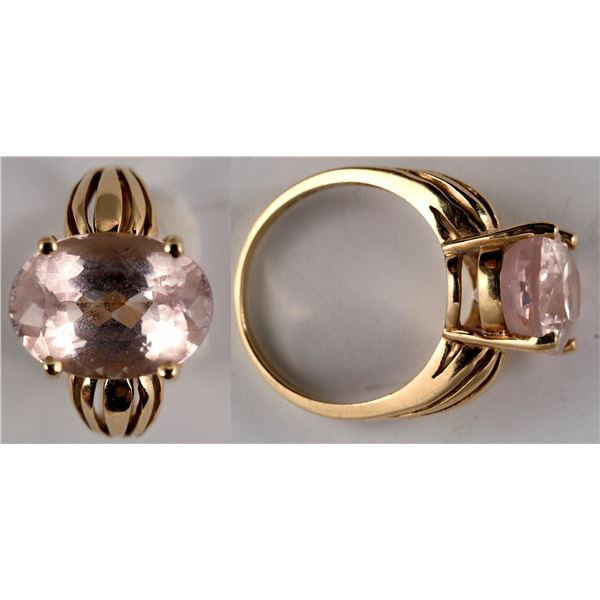 Oval Ice Pink Topaz Gold Ring  [137766]