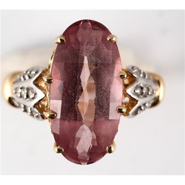 Oval Pink Topaz Gold Ring  [137764]