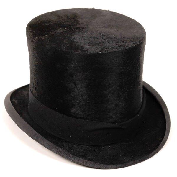 Black Velvet Style Top Hat, Non Folding, Unused  [135041]
