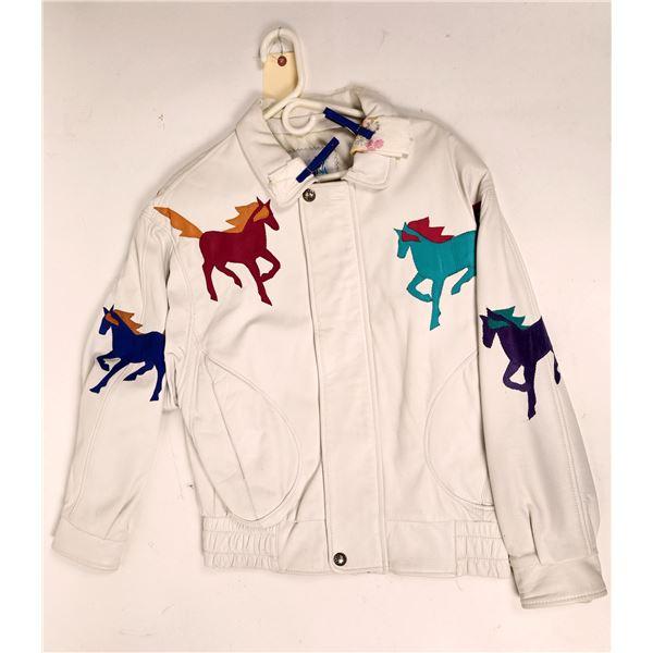 Augustina White Leather Horse Jacket  [131999]