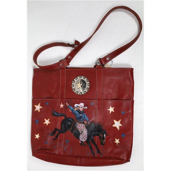 Stephanie Rose Long Handpainted Western Motif Leather Tote Bag   [135151]