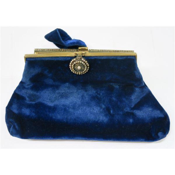 Vintage Antique Blue Velvet Purse  [137084]