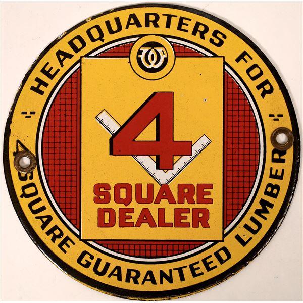 4 Square Guaranteed Lumber Headquarters Enamel Sign  [135894]