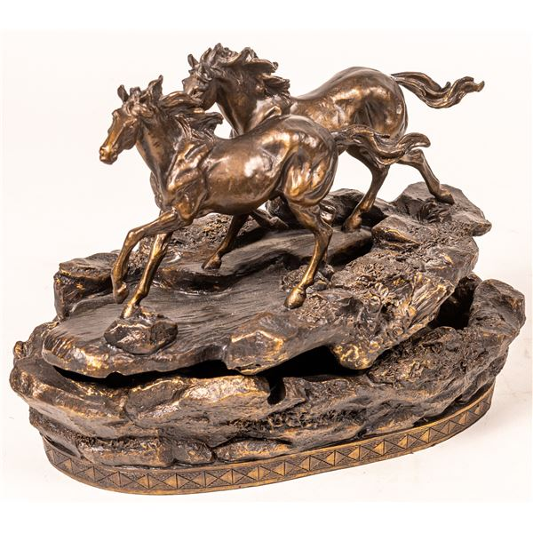 """""""River Runners"""" Wild Horse Tabletop Fountain  [135783]"""