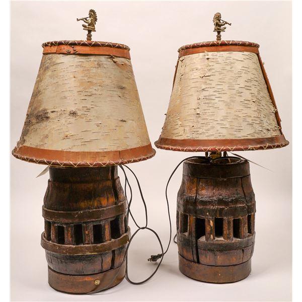 Wagon Wheel Table Lamps with Birch-bark Lamp Shades  [135018]