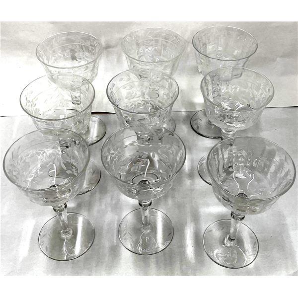 Finely Carved Wine Goblets (9)  [136355]