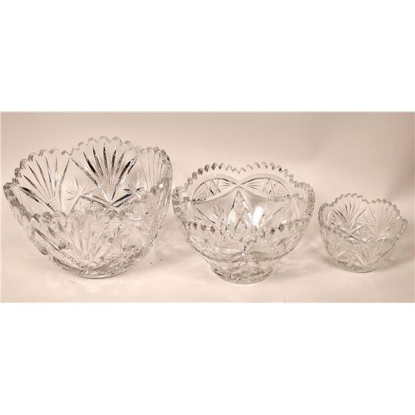 Leaded Glass Crystal Bowl Trio  [135784]