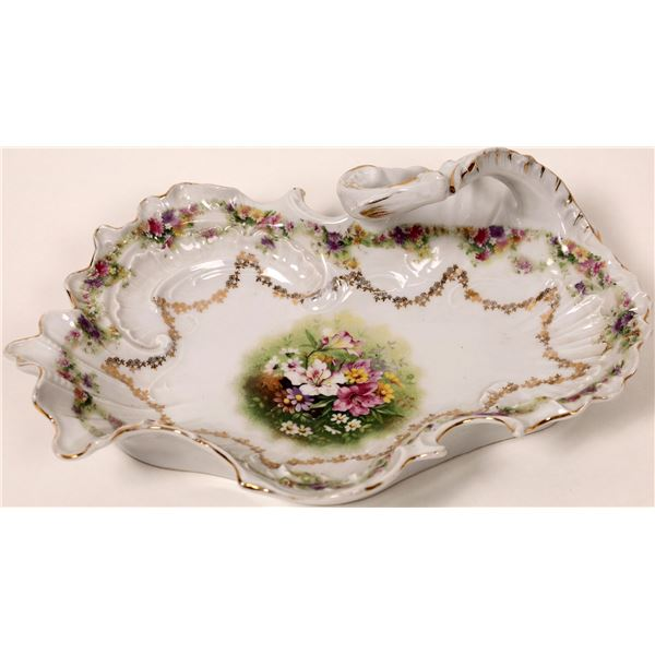 Floral China Dish with Handle  [127088]