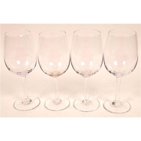 Simon Pearce Signed Woodstock Pattern Wine Glasses  [136474]