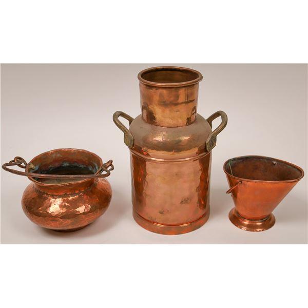 Vintage Hand-Hammered Copper Vessels (Lot of 3)  [137552]