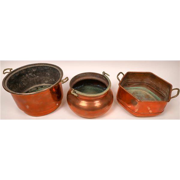 Vintage Handmade Copper Pots (Lot of 3)  [137553]