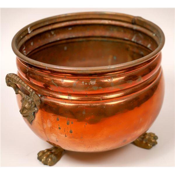 Handmade Copper Cauldron w/ Brass Lionhead Handles & Claw Feet  [137551]